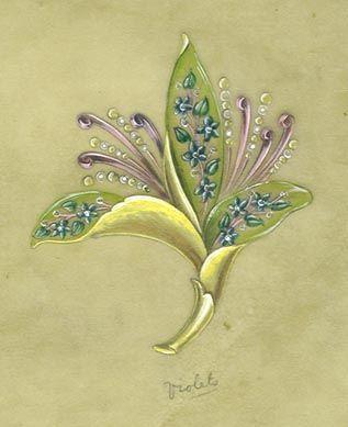 植物首饰手绘效果图