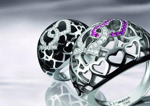 """戒指/镶有红宝石的OMEGAMANIA""""I Love You""""戒指"""