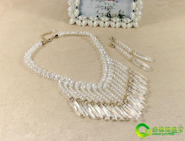 高贵白水晶婚纱新娘项链