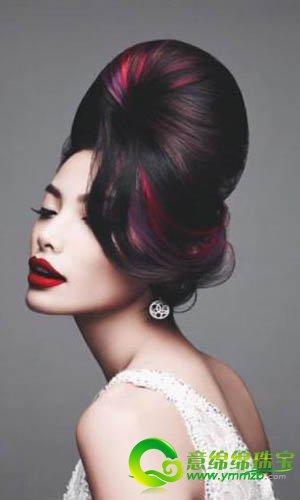 挑染盘发新娘发型 增添新娘的活泼气息图片图片