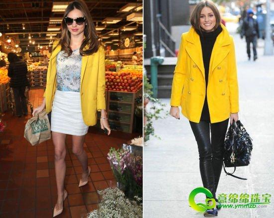 柠檬黄大衣真的是百搭单品