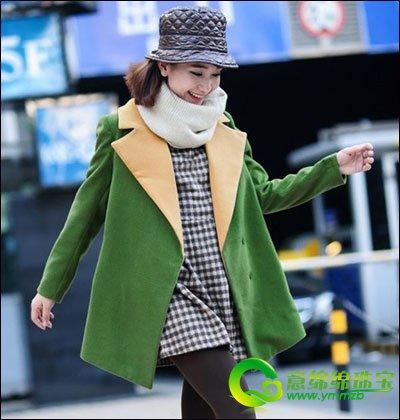 绿色宽松外套,撞色翻领设计,简约秀气,清新可爱的风格,很有