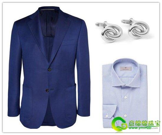 西装为深蓝色,衬衫为浅蓝色